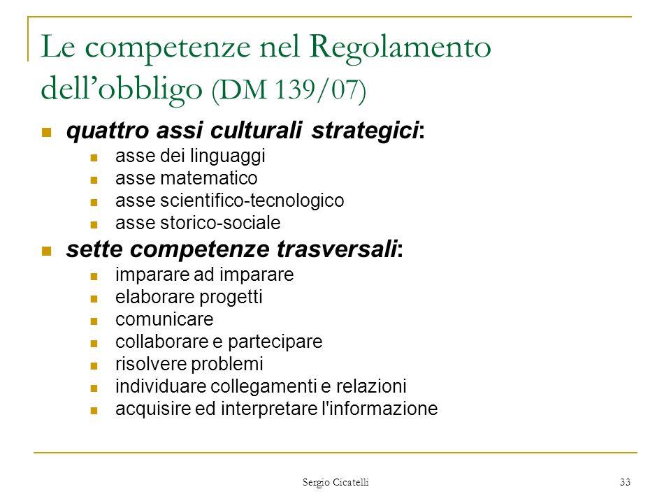 Sergio Cicatelli 33 Le competenze nel Regolamento dellobbligo (DM 139/07) quattro assi culturali strategici: asse dei linguaggi asse matematico asse s
