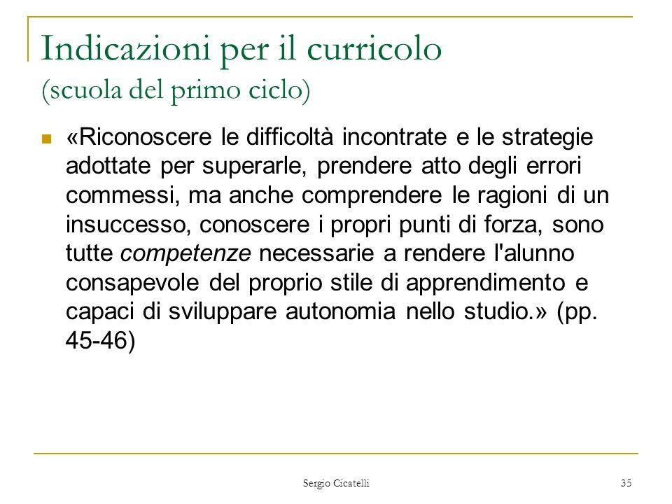 Sergio Cicatelli 35 Indicazioni per il curricolo (scuola del primo ciclo) «Riconoscere le difficoltà incontrate e le strategie adottate per superarle,
