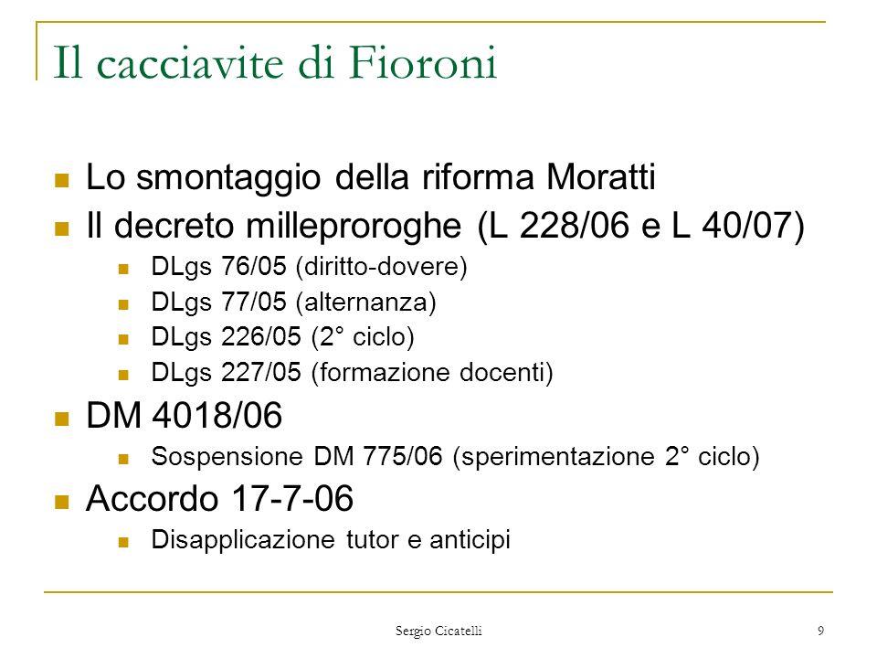 Sergio Cicatelli 9 Il cacciavite di Fioroni Lo smontaggio della riforma Moratti Il decreto milleproroghe (L 228/06 e L 40/07) DLgs 76/05 (diritto-dove