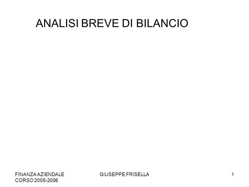 FINANZA AZIENDALE CORSO 2005-2006 GIUSEPPE FRISELLA1 ANALISI BREVE DI BILANCIO