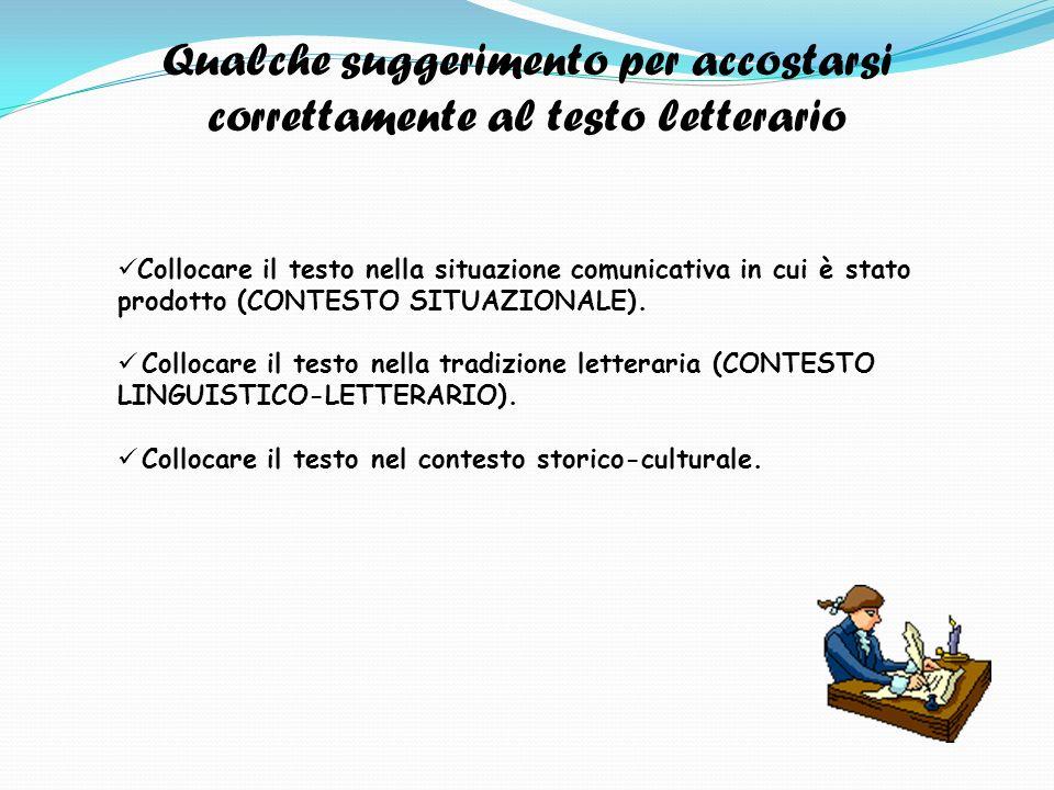 Qualche suggerimento per accostarsi correttamente al testo letterario Collocare il testo nella situazione comunicativa in cui è stato prodotto (CONTESTO SITUAZIONALE).