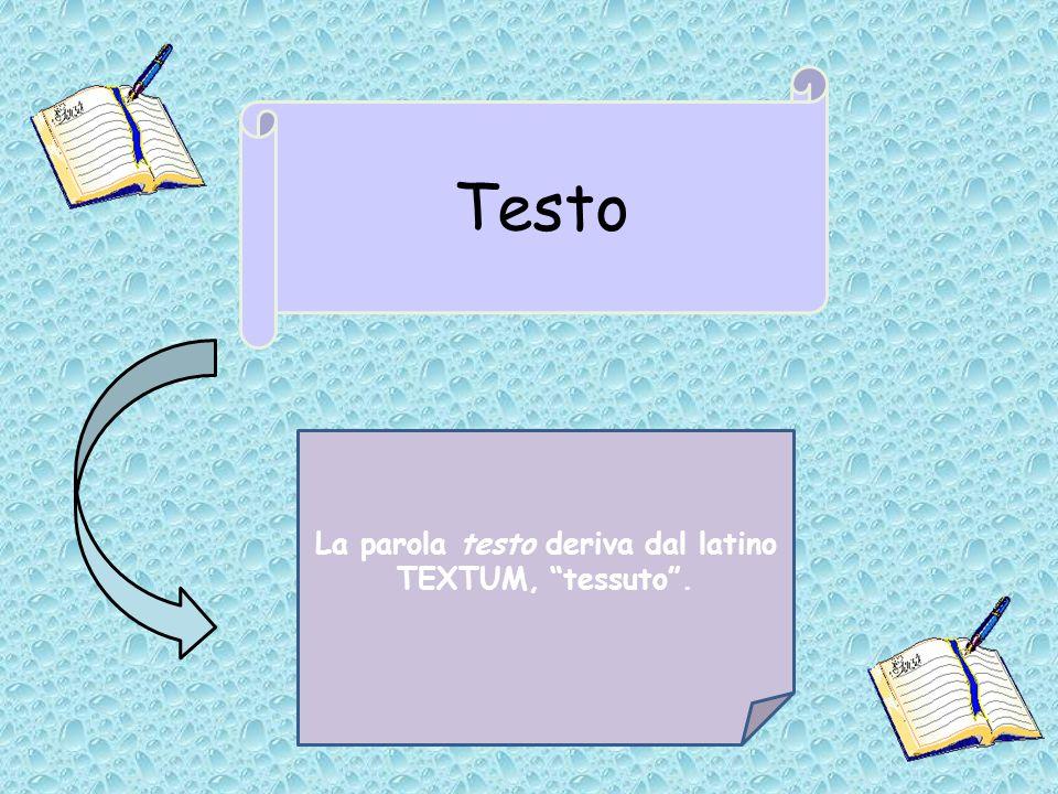 Testo La parola testo deriva dal latino TEXTUM, tessuto.