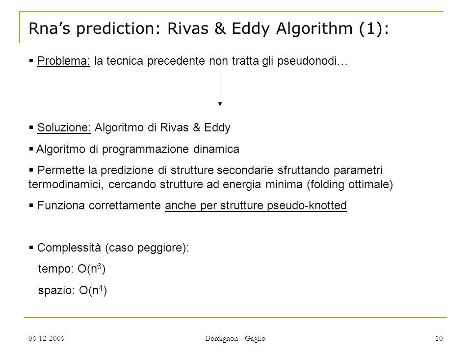 06-12-2006 Bordignon - Gaglio 10 Rnas prediction: Rivas & Eddy Algorithm (1): Soluzione: Algoritmo di Rivas & Eddy Algoritmo di programmazione dinamica Permette la predizione di strutture secondarie sfruttando parametri termodinamici, cercando strutture ad energia minima (folding ottimale) Funziona correttamente anche per strutture pseudo-knotted Complessità (caso peggiore): tempo: O(n 6 ) spazio: O(n 4 ) Problema: la tecnica precedente non tratta gli pseudonodi…