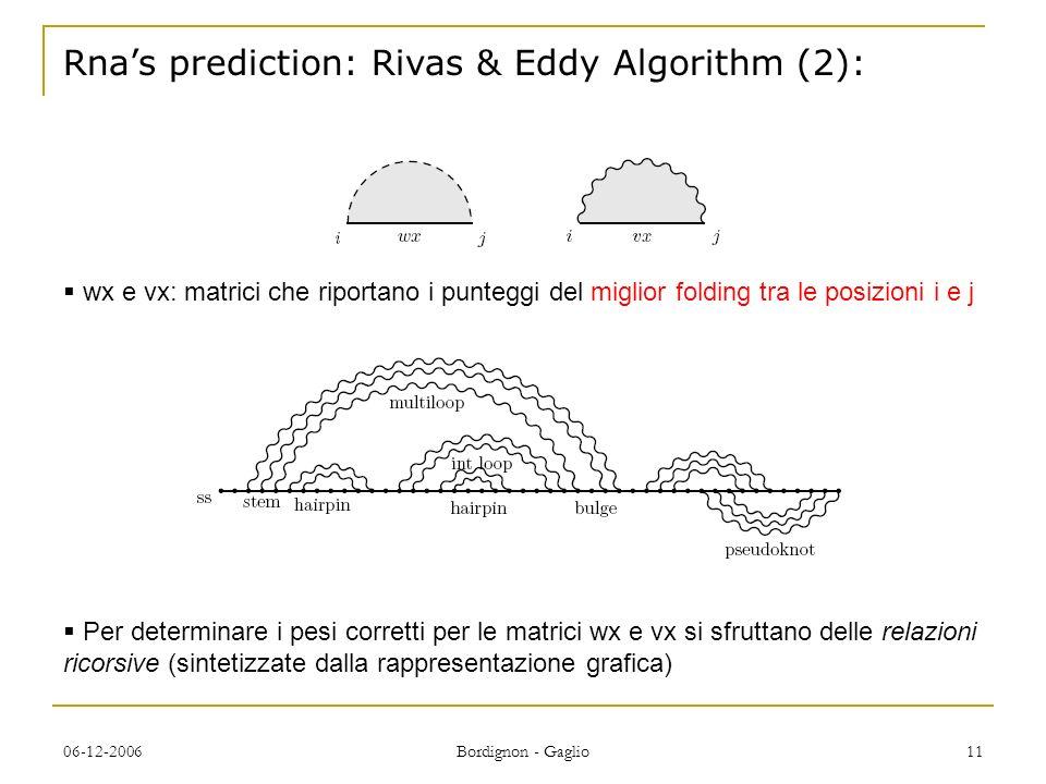 06-12-2006 Bordignon - Gaglio 11 Rnas prediction: Rivas & Eddy Algorithm (2): wx e vx: matrici che riportano i punteggi del miglior folding tra le posizioni i e j Per determinare i pesi corretti per le matrici wx e vx si sfruttano delle relazioni ricorsive (sintetizzate dalla rappresentazione grafica)