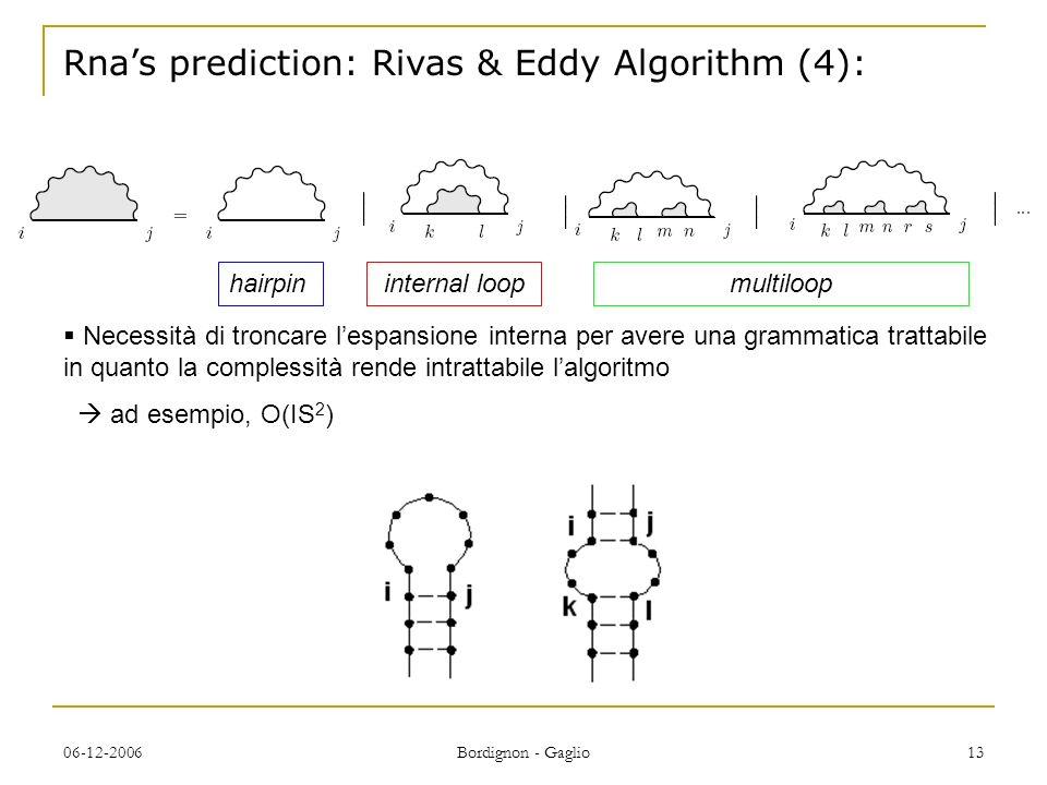 06-12-2006 Bordignon - Gaglio 13 Rnas prediction: Rivas & Eddy Algorithm (4): Necessità di troncare lespansione interna per avere una grammatica trattabile in quanto la complessità rende intrattabile lalgoritmo ad esempio, O(IS 2 ) hairpininternal loop multiloop