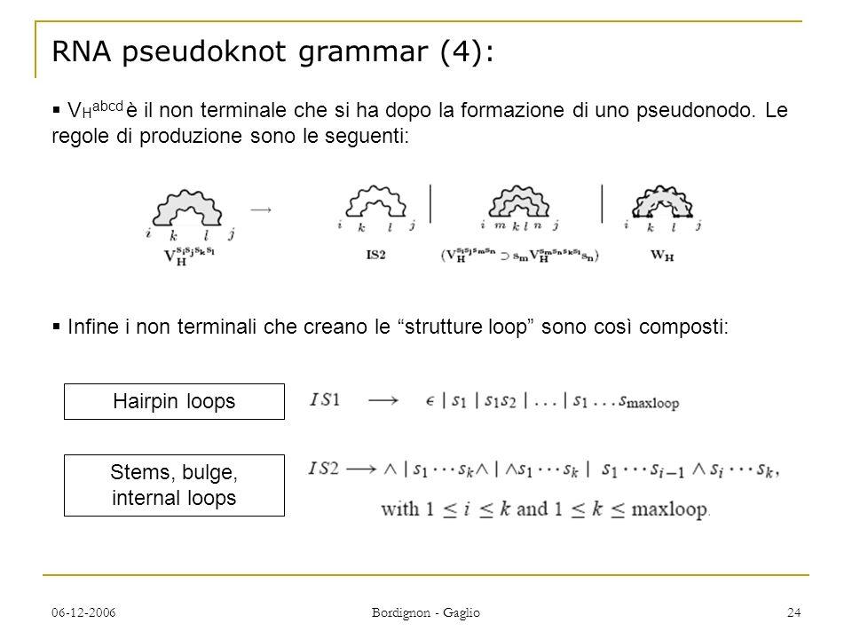 06-12-2006 Bordignon - Gaglio 24 RNA pseudoknot grammar (4): V H abcd è il non terminale che si ha dopo la formazione di uno pseudonodo.