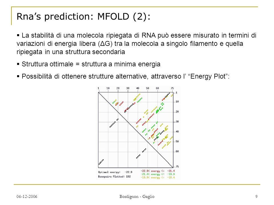 06-12-2006 Bordignon - Gaglio 9 Rnas prediction: MFOLD (2): La stabilità di una molecola ripiegata di RNA può essere misurato in termini di variazioni di energia libera (ΔG) tra la molecola a singolo filamento e quella ripiegata in una struttura secondaria Struttura ottimale = struttura a minima energia Possibilità di ottenere strutture alternative, attraverso l Energy Plot: