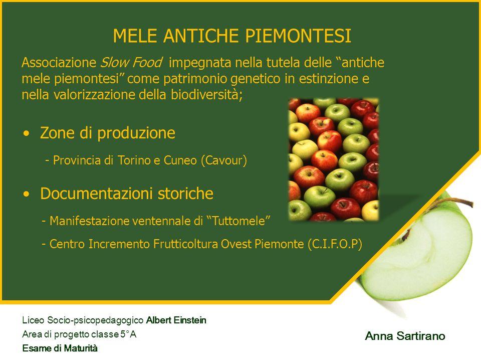 MELE ANTICHE PIEMONTESI Zone di produzione - Manifestazione ventennale di Tuttomele Associazione Slow Food impegnata nella tutela delle antiche mele p