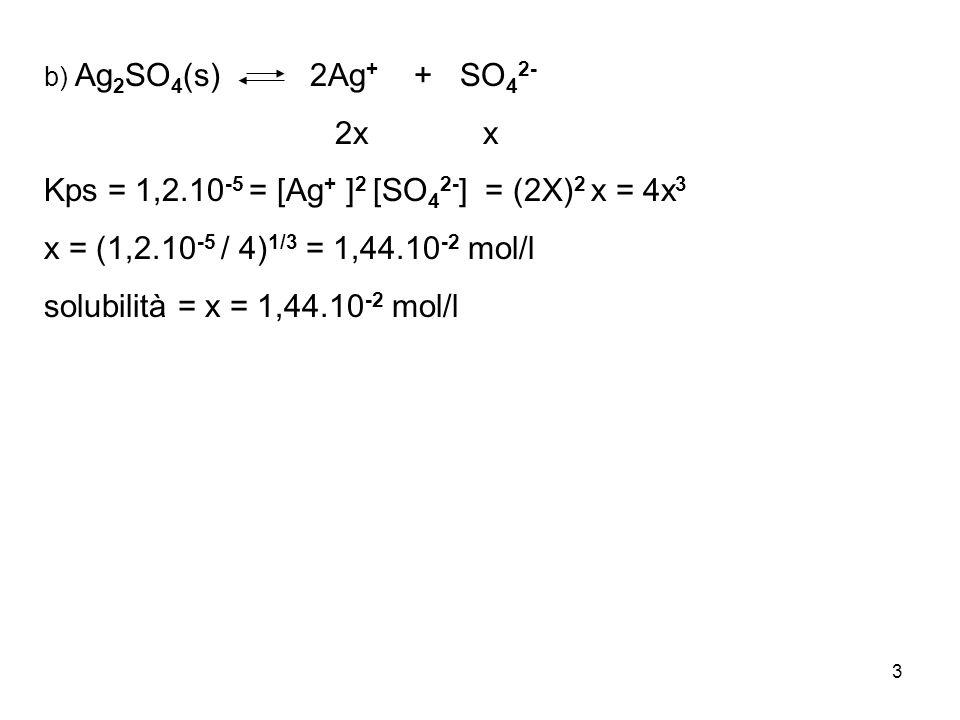 3 b) Ag 2 SO 4 (s) 2Ag + + SO 4 2- 2x x Kps = 1,2.10 -5 = [Ag + ] 2 [SO 4 2- ] = (2X) 2 x = 4x 3 x = (1,2.10 -5 / 4) 1/3 = 1,44.10 -2 mol/l solubilità