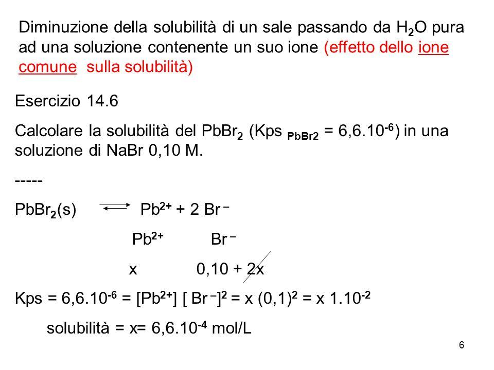 6 Diminuzione della solubilità di un sale passando da H 2 O pura ad una soluzione contenente un suo ione (effetto dello ione comune sulla solubilità)