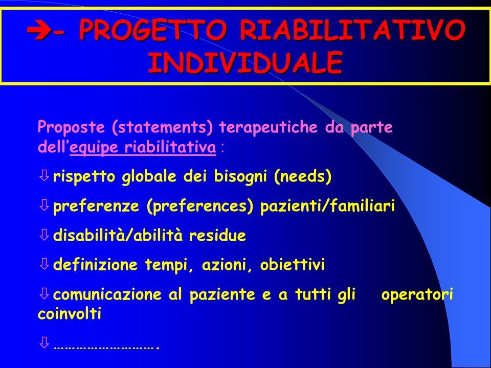 è - PROGETTO RIABILITATIVO INDIVIDUALE Proposte (statements) terapeutiche da parte dellequipe riabilitativa : ò rispetto globale dei bisogni (needs) ò