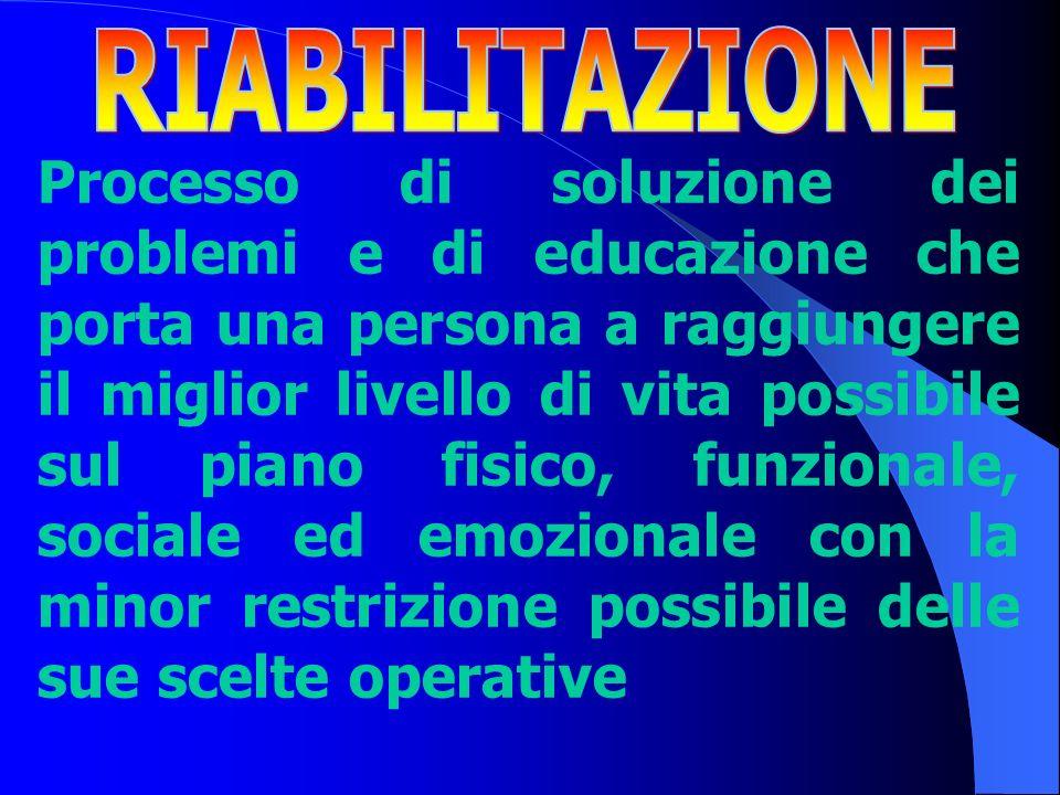 Processo di soluzione dei problemi e di educazione che porta una persona a raggiungere il miglior livello di vita possibile sul piano fisico, funziona