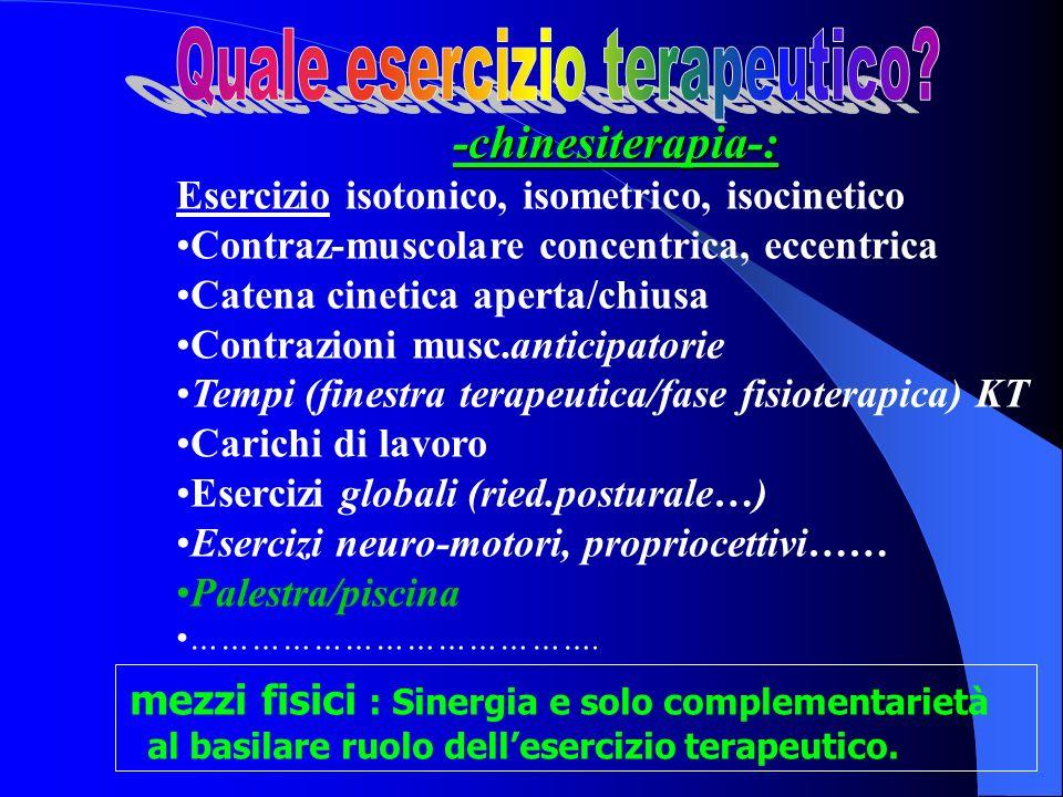 -chinesiterapia-: Esercizio isotonico, isometrico, isocinetico Contraz-muscolare concentrica, eccentrica Catena cinetica aperta/chiusa Contrazioni mus