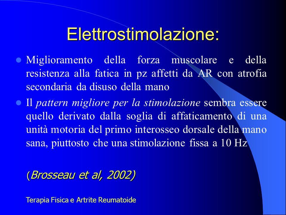 Elettrostimolazione: Miglioramento della forza muscolare e della resistenza alla fatica in pz affetti da AR con atrofia secondaria da disuso della man