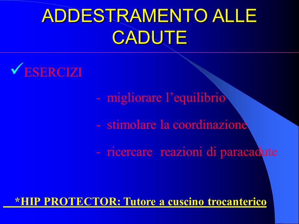 ADDESTRAMENTO ALLE CADUTE ESERCIZI - migliorare lequilibrio - stimolare la coordinazione - ricercare reazioni di paracadute *HIP PROTECTOR: Tutore a c