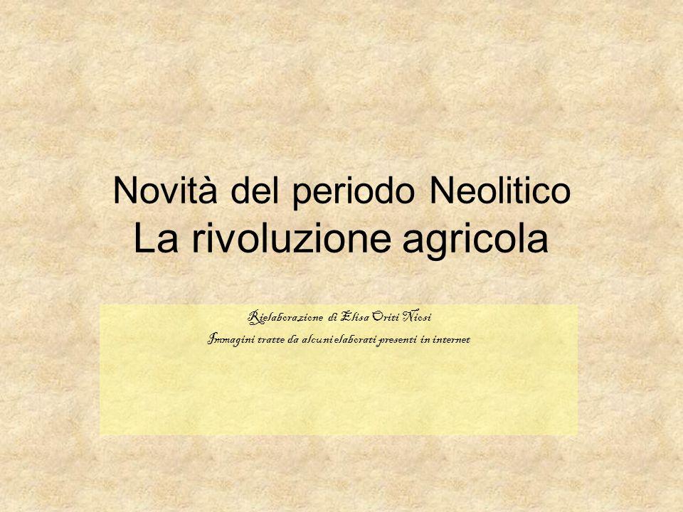 Novità del periodo Neolitico La rivoluzione agricola Rielaborazione di Elisa Oriti Niosi Immagini tratte da alcuni elaborati presenti in internet