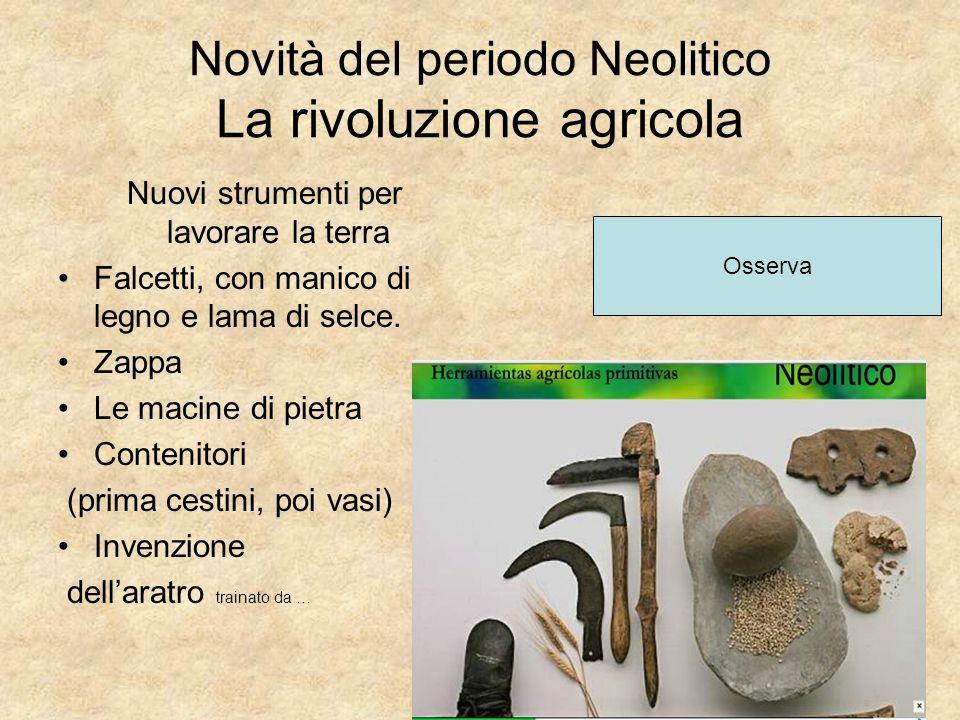 Novità del periodo Neolitico La rivoluzione agricola Nuovi strumenti per lavorare la terra Falcetti, con manico di legno e lama di selce. Zappa Le mac