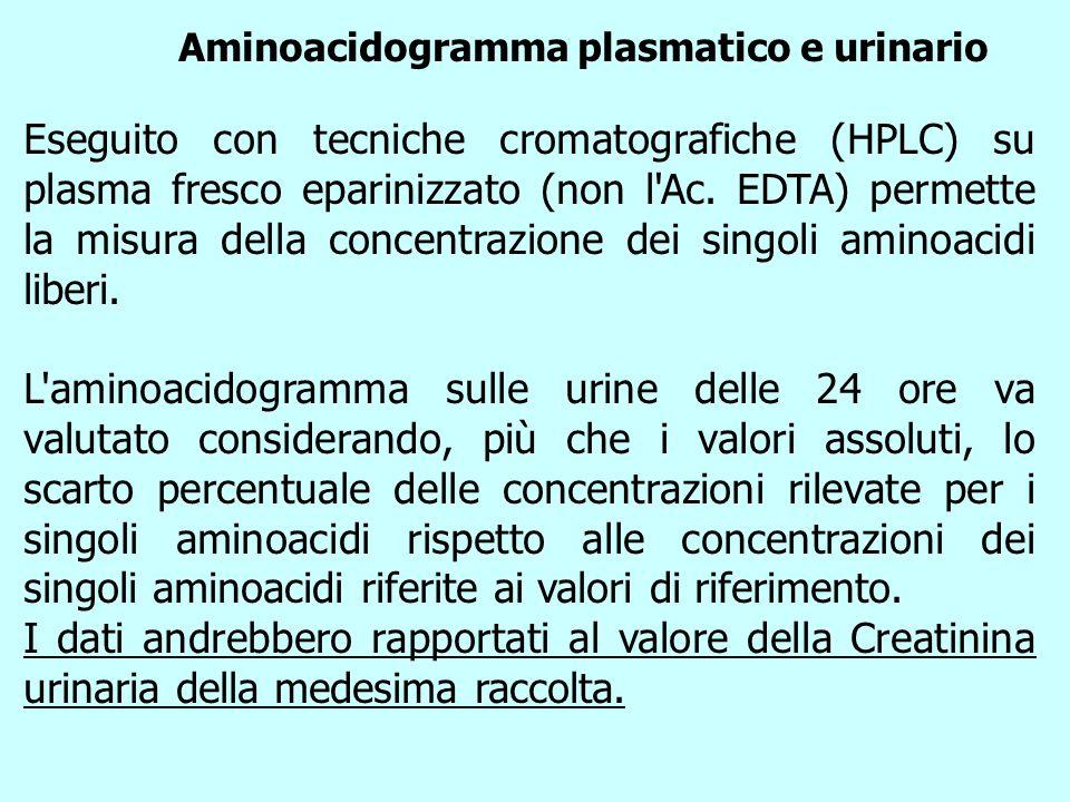 Aminoacidogramma plasmatico e urinario Eseguito con tecniche cromatografiche (HPLC) su plasma fresco eparinizzato (non l'Ac. EDTA) permette la misura