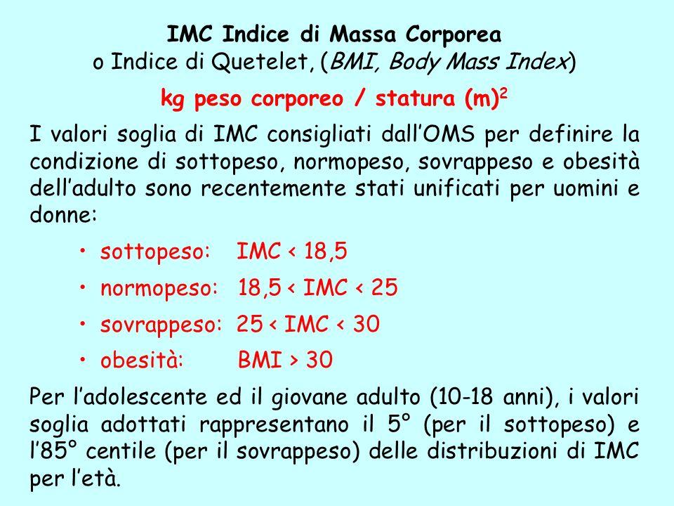IMC Indice di Massa Corporea o Indice di Quetelet, (BMI, Body Mass Index) kg peso corporeo / statura (m) 2 I valori soglia di IMC consigliati dallOMS