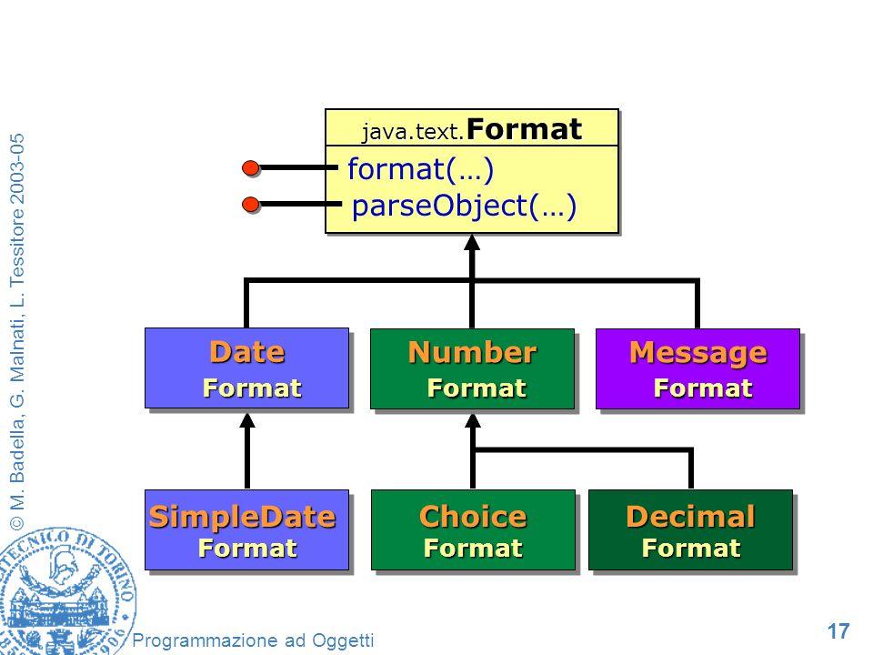 17 © M. Badella, G. Malnati, L. Tessitore 2003-05 Programmazione ad Oggetti java.text.