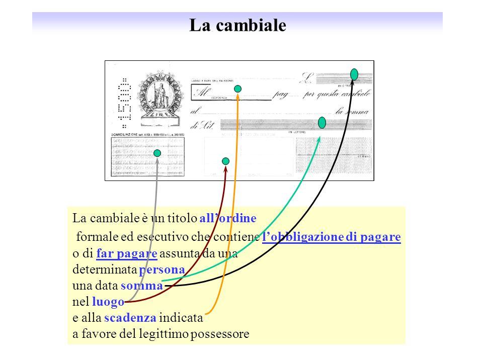 La cambiale La cambiale è un titolo allordine formale ed esecutivo che contiene lobbligazione di pagare o di far pagare assunta da una determinata per