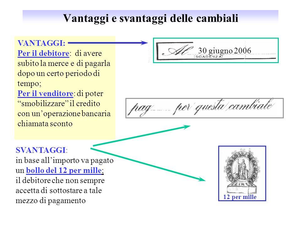 Vantaggi e svantaggi delle cambiali 12 per mille 30 giugno 2006 VANTAGGI: Per il debitore: di avere subito la merce e di pagarla dopo un certo periodo