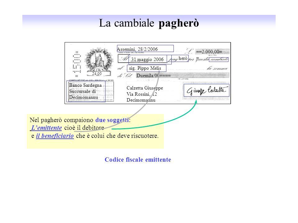 La cambiale pagherò Assemini, 28/2/2006 ==2.000,00= = 31 maggio 2006 herò sig. Pippo Melis Duemila/00==== Calzetta Giuseppe Via Rossini, 12 Decimomann