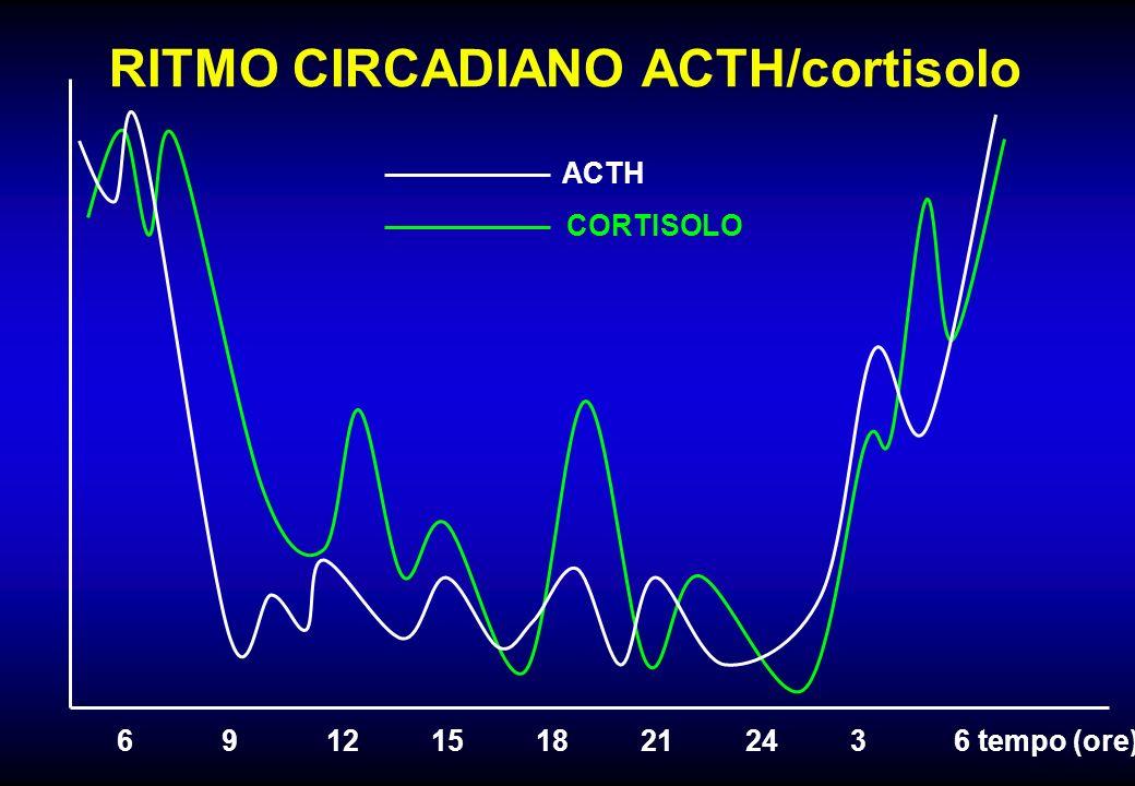 RITMO CIRCADIANO ACTH/cortisolo ACTH CORTISOLO 69121518212436 tempo (ore)