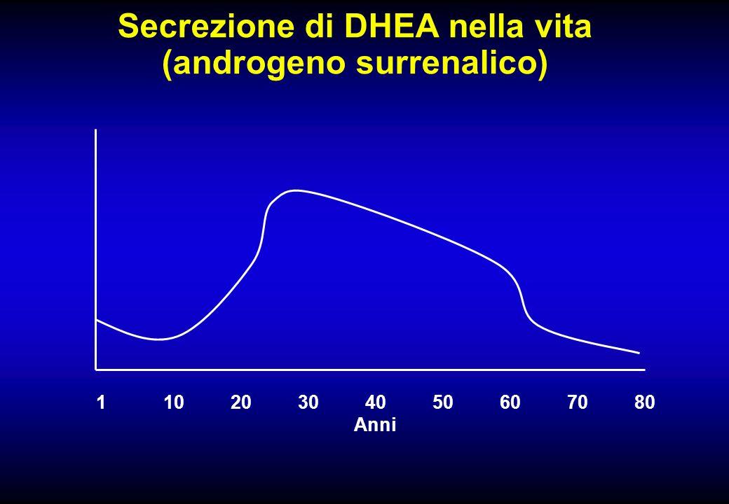 Secrezione di DHEA nella vita (androgeno surrenalico) 11020304050607080 Anni
