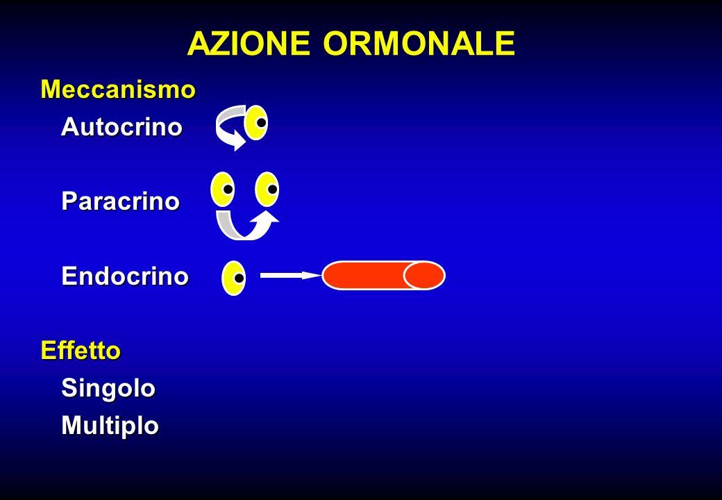 AZIONE ORMONALE MeccanismoAutocrinoParacrinoEndocrinoEffettoSingoloMultiplo