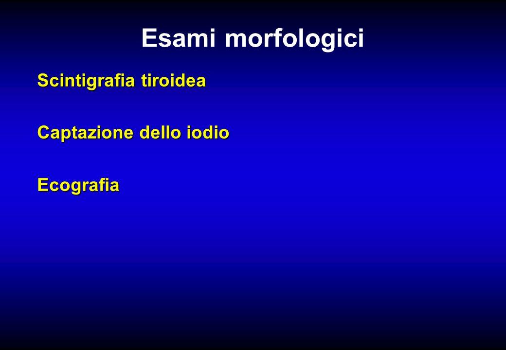 Esami morfologici Scintigrafia tiroidea Captazione dello iodio Ecografia