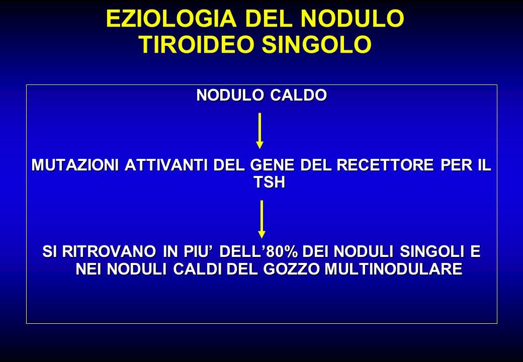 EZIOLOGIA DEL NODULO TIROIDEO SINGOLO NODULO CALDO MUTAZIONI ATTIVANTI DEL GENE DEL RECETTORE PER IL TSH SI RITROVANO IN PIU DELL80% DEI NODULI SINGOL