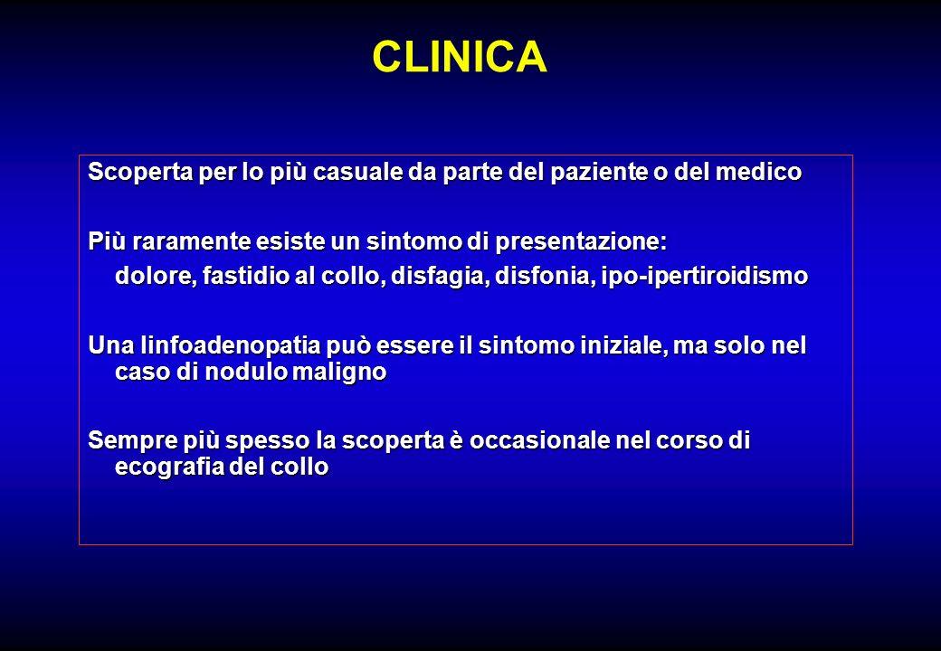 CLINICA Scoperta per lo più casuale da parte del paziente o del medico Più raramente esiste un sintomo di presentazione: dolore, fastidio al collo, di