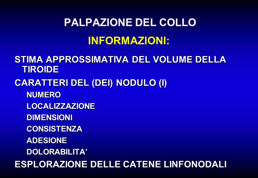 STIMA APPROSSIMATIVA DEL VOLUME DELLA TIROIDE CARATTERI DEL (DEI) NODULO (I) NUMEROLOCALIZZAZIONEDIMENSIONICONSISTENZAADESIONEDOLORABILITA ESPLORAZION