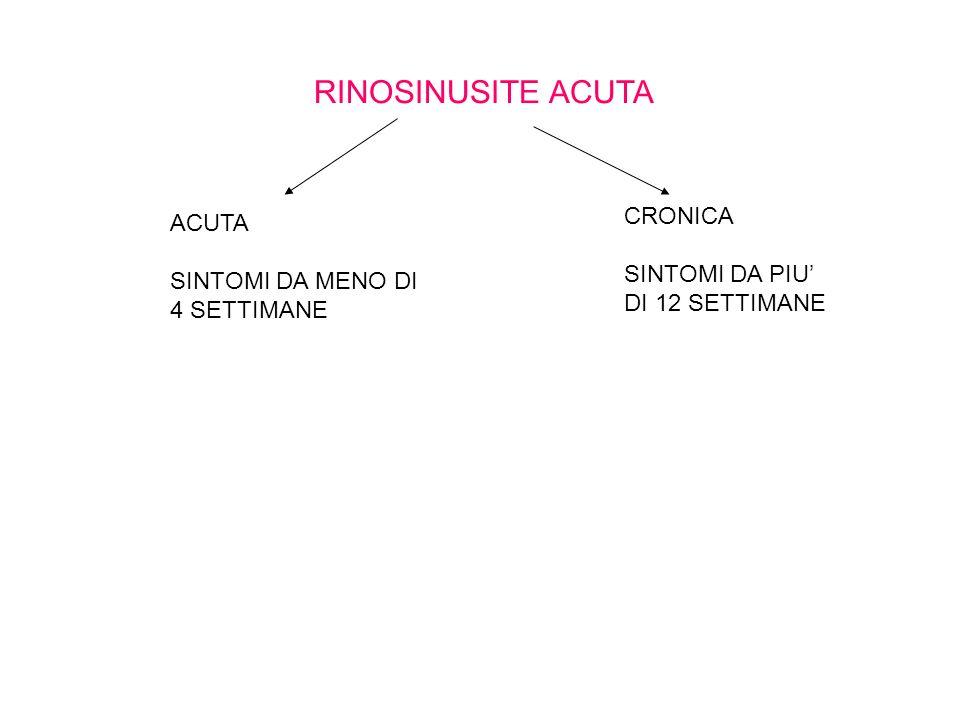 RINOSINUSITE ACUTA ACUTA SINTOMI DA MENO DI 4 SETTIMANE CRONICA SINTOMI DA PIU DI 12 SETTIMANE