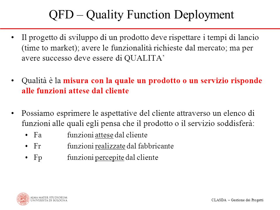 CLASDA – Gestione dei Progetti QFD – Quality Function Deployment Il progetto di sviluppo di un prodotto deve rispettare i tempi di lancio (time to mar