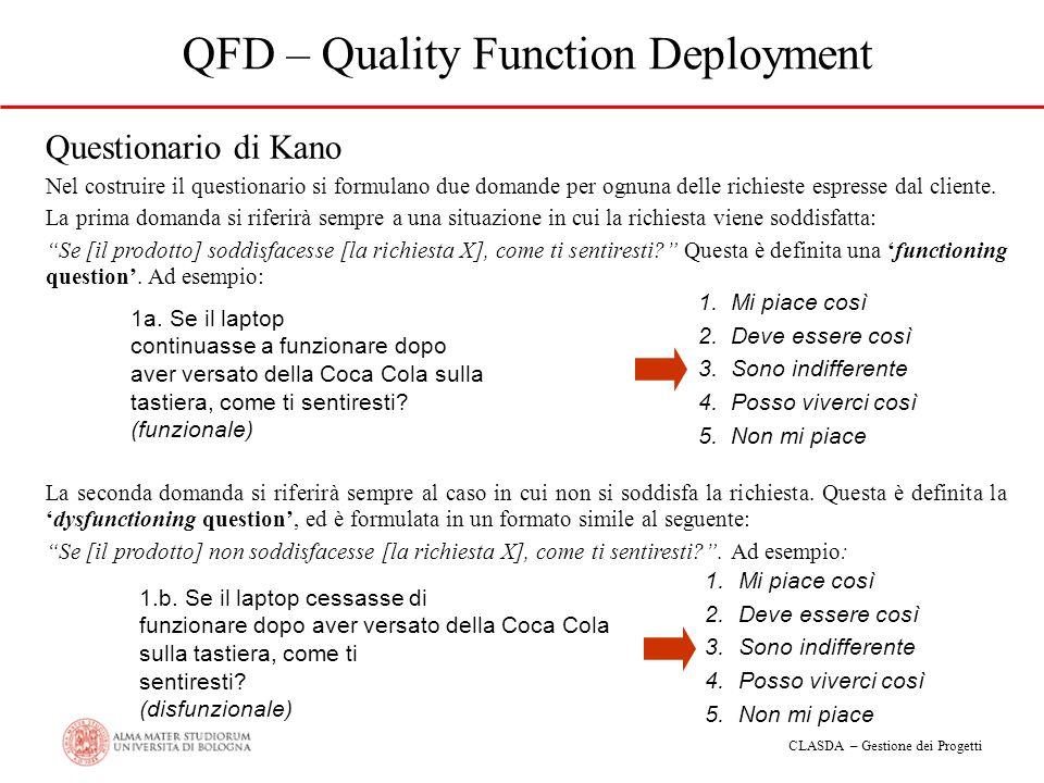 CLASDA – Gestione dei Progetti QFD – Quality Function Deployment Questionario di Kano Nel costruire il questionario si formulano due domande per ognun