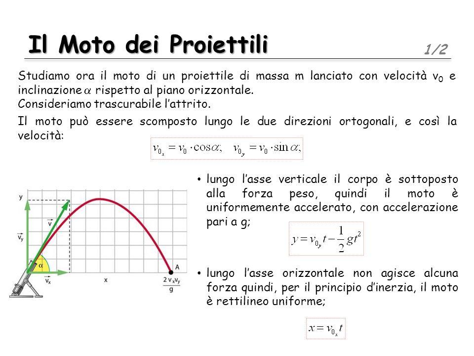 Il Moto dei Proiettili 1/2 Studiamo ora il moto di un proiettile di massa m lanciato con velocità v 0 e inclinazione rispetto al piano orizzontale.