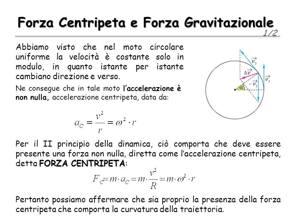 Forza Centripeta e Forza Gravitazionale 1/2 Abbiamo visto che nel moto circolare uniforme la velocità è costante solo in modulo, in quanto istante per istante cambiano direzione e verso.