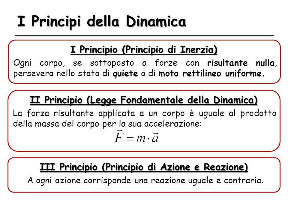 I Principi della Dinamica I Principio (Principio di Inerzia) Ogni corpo, se sottoposto a forze con risultante nulla, persevera nello stato di quiete o