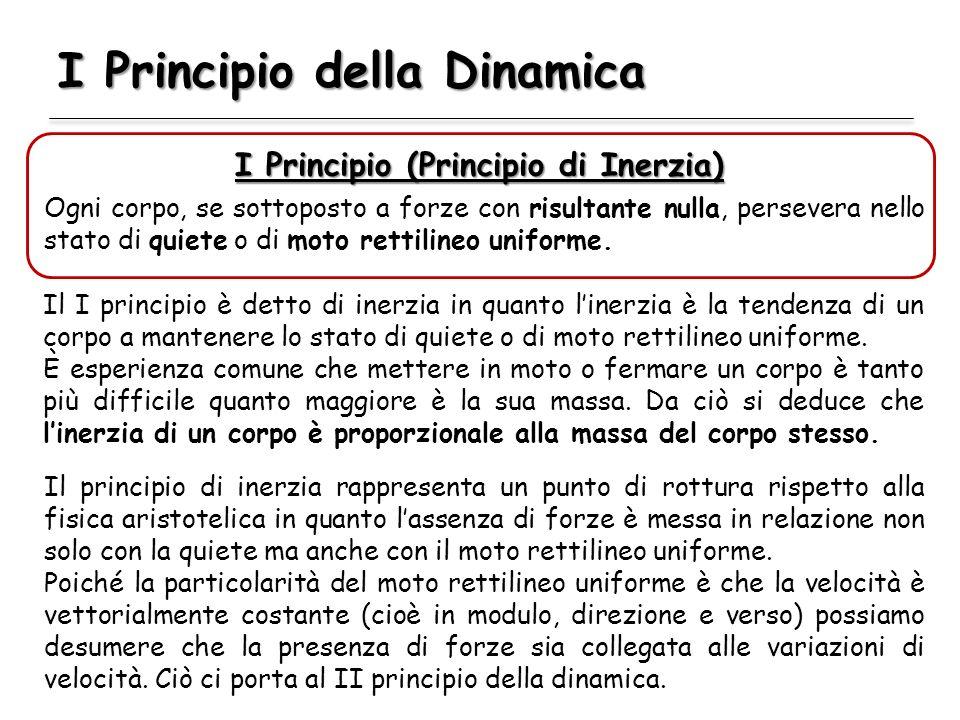 I Principio della Dinamica I Principio (Principio di Inerzia) Ogni corpo, se sottoposto a forze con risultante nulla, persevera nello stato di quiete o di moto rettilineo uniforme.