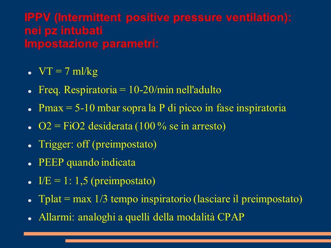 IPPV (Intermittent positive pressure ventilation): nei pz intubati Impostazione parametri: VT = 7 ml/kg Freq. Respiratoria = 10-20/min nell'adulto Pma