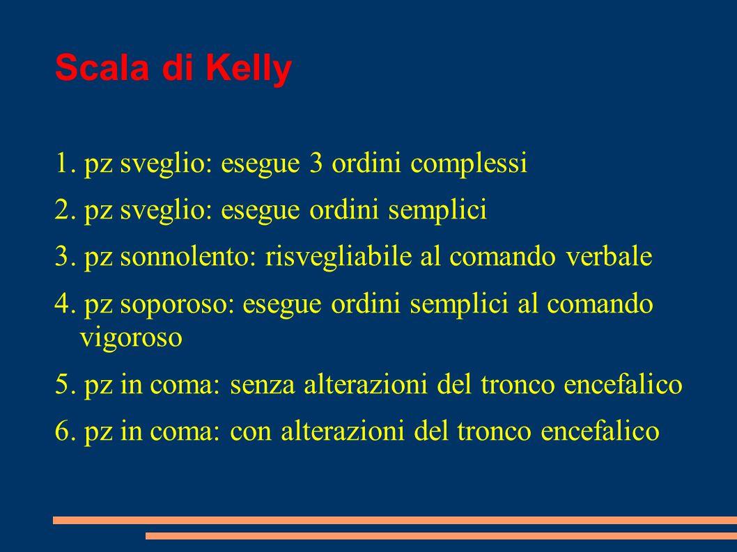 Scala di Kelly 1. pz sveglio: esegue 3 ordini complessi 2. pz sveglio: esegue ordini semplici 3. pz sonnolento: risvegliabile al comando verbale 4. pz