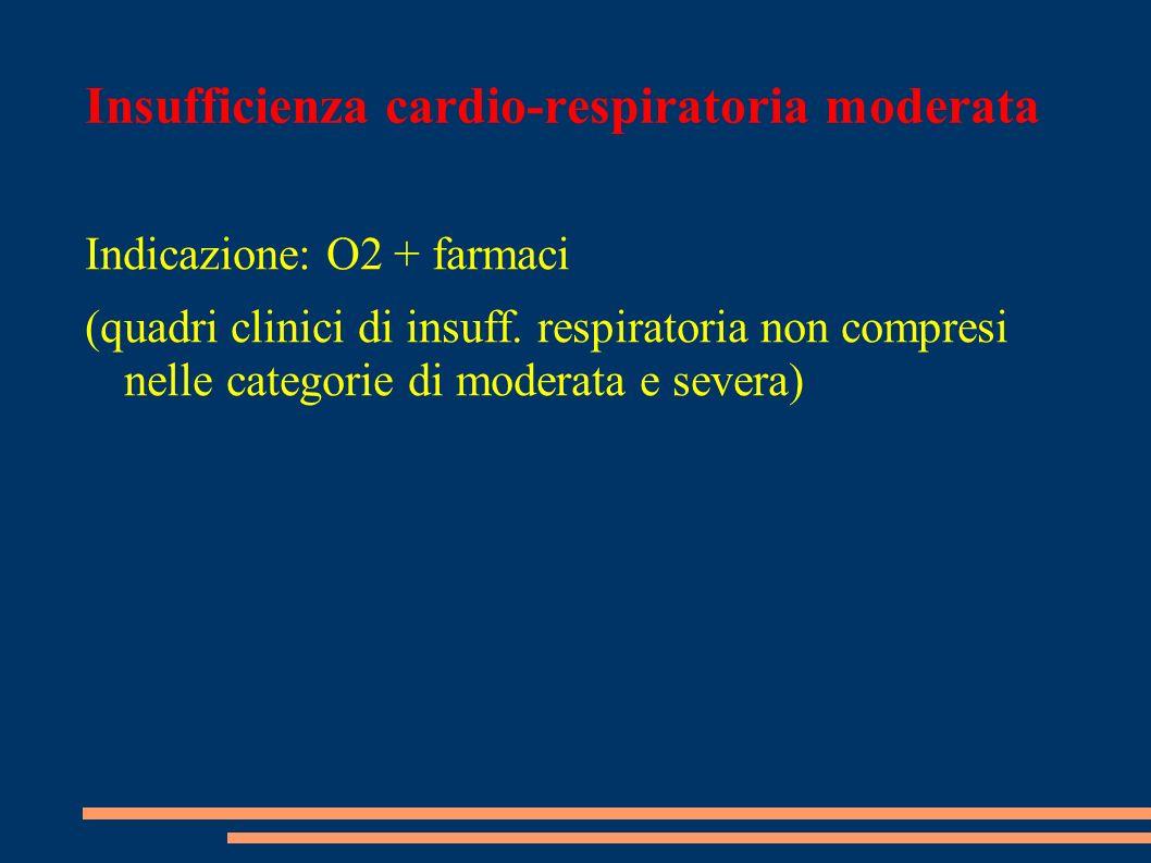 Insufficienza cardio-respiratoria moderata Indicazione: O2 + farmaci (quadri clinici di insuff. respiratoria non compresi nelle categorie di moderata