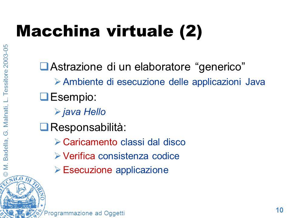 10 © M. Badella, G. Malnati, L. Tessitore 2003-05 Programmazione ad Oggetti Macchina virtuale (2) Astrazione di un elaboratore generico Ambiente di es