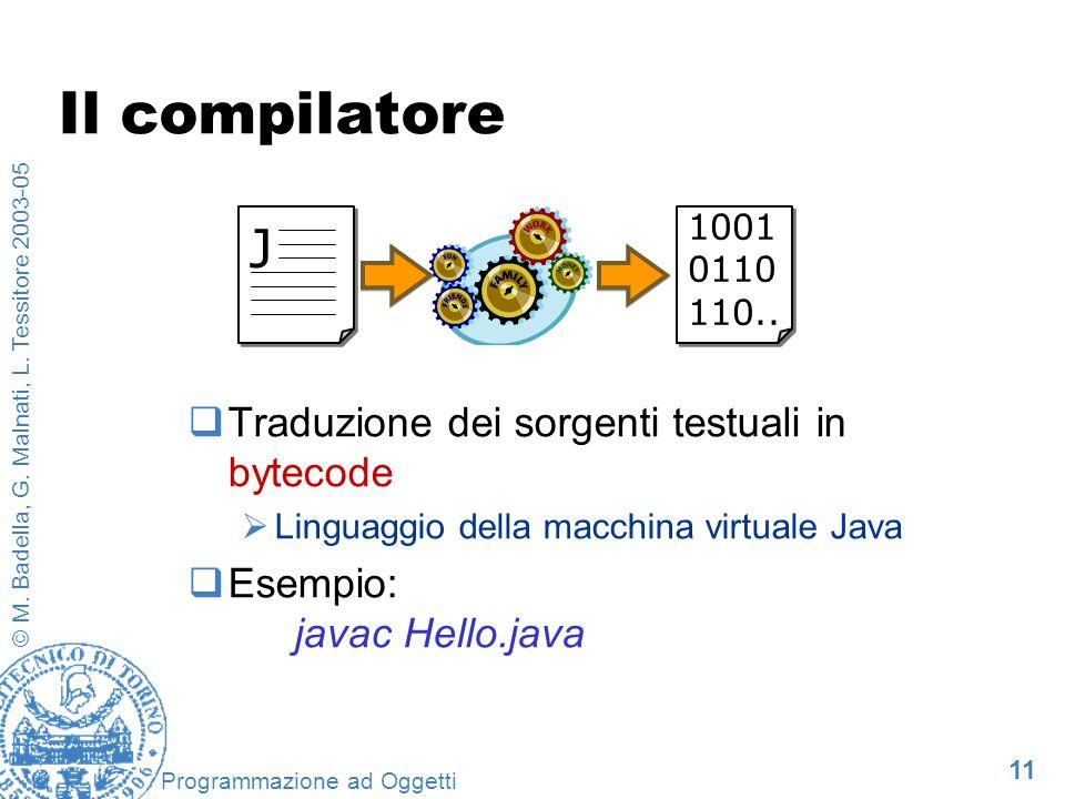 11 © M. Badella, G. Malnati, L. Tessitore 2003-05 Programmazione ad Oggetti Il compilatore Traduzione dei sorgenti testuali in bytecode Linguaggio del