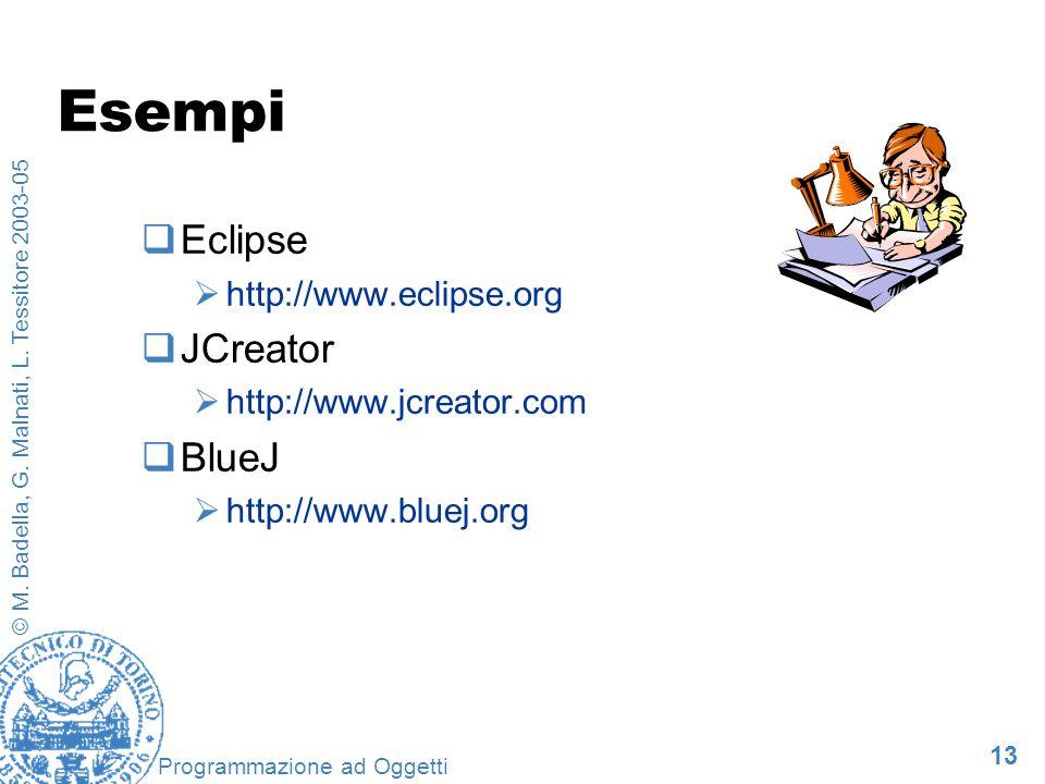 13 © M. Badella, G. Malnati, L. Tessitore 2003-05 Programmazione ad Oggetti Esempi Eclipse http://www.eclipse.org JCreator http://www.jcreator.com Blu