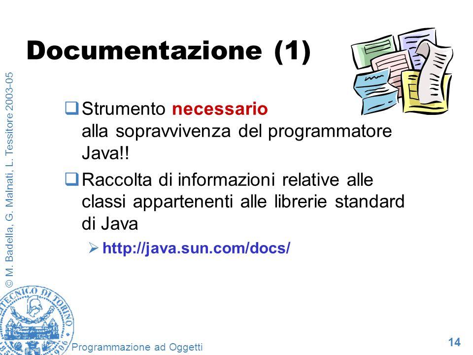 14 © M. Badella, G. Malnati, L. Tessitore 2003-05 Programmazione ad Oggetti Documentazione (1) Strumento necessario alla sopravvivenza del programmato