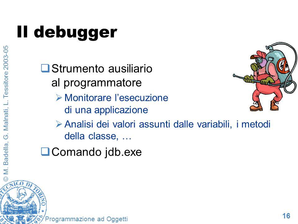 16 © M. Badella, G. Malnati, L. Tessitore 2003-05 Programmazione ad Oggetti Il debugger Strumento ausiliario al programmatore Monitorare lesecuzione d