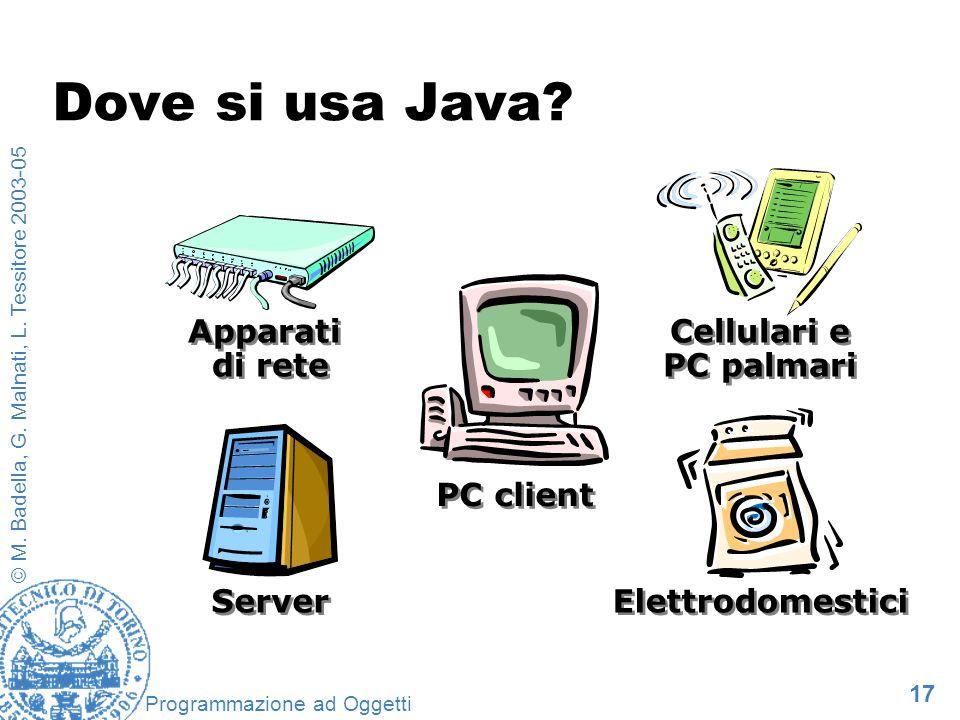 17 © M. Badella, G. Malnati, L. Tessitore 2003-05 Programmazione ad Oggetti Cellulari e PC palmari Elettrodomestici PC client Server Apparati di rete
